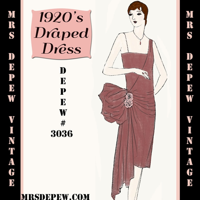 1920s Patterns – Vintage, Reproduction Sewing Patterns 1920s Flapper Easy Draped Evening Dress Ebook Depew 3036 -INSTANT DOWNLOAD- $7.50 AT vintagedancer.com