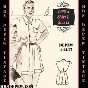 Men's Vintage Reproduction Sewing Patterns Menswear Vintage Sewing Pattern 1940s Mens T-Shirt and Shorts in Any Size Depew 4487 - Plus Size Included -INSTANT DOWNLOAD- $9.50 AT vintagedancer.com