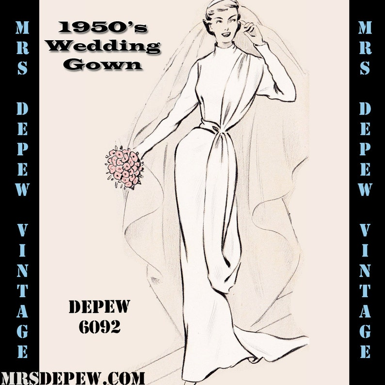 1930s Sewing Patterns- Dresses, Pants, Tops Vintage Sewing Pattern 1950s Sheath Wedding Gown in Any Size - PLUS Size Included - Depew 6092 -INSTANT DOWNLOAD- $9.50 AT vintagedancer.com