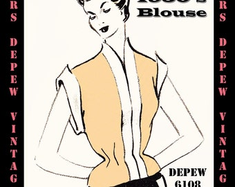 Vintage Sewing Pattern 1950's Short Sleeve Blouse in Any Size - PLUS Size Included - Depew 6108 -INSTANT DOWNLOAD-