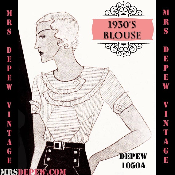 1930s Sewing Patterns- Dresses, Pants, Tops 1930s Blouse in Any Size Depew 1050a Draft at Home Pattern - PLUS Size Included -INSTANT DOWNLOAD- $7.50 AT vintagedancer.com
