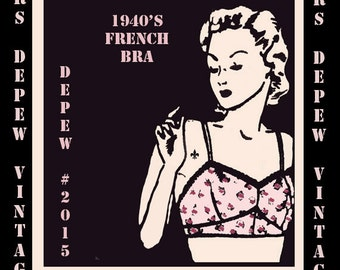 Vintage Sewing Pattern Ladies 1940s French Bra Digital Printable Multisize Depew 2015 -INSTANT DOWNLOAD-