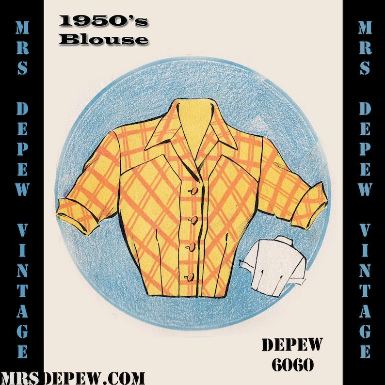1950s Sewing Patterns | Dresses, Skirts, Tops, Mens Vintage Sewing Pattern 1950s Short Sleeve Blouse in Any Size - PLUS Size Included - Depew 6060 -INSTANT DOWNLOAD- $7.50 AT vintagedancer.com