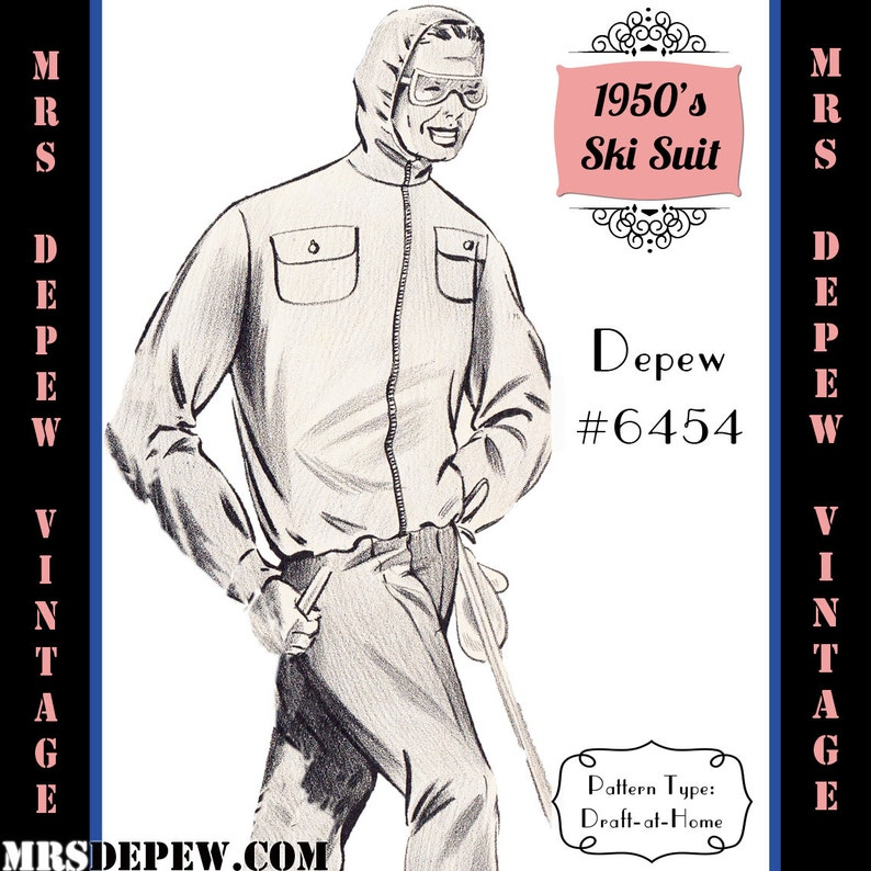 1960s Sewing Patterns | 1970s Sewing Patterns Menswear Vintage Sewing Pattern 1950s Mens Ski Jacket and Pants in Any Size Depew 6454 - Plus Size Included -INSTANT DOWNLOAD- $9.50 AT vintagedancer.com