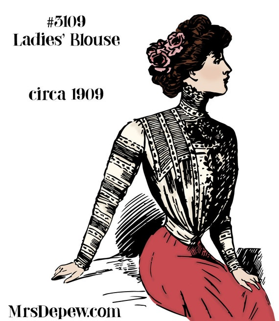 Titanic Fashion – 1st Class Women's Clothing 1900s Vintage Sewing Pattern 1909 Ladies Shirt Waist Pattern 37