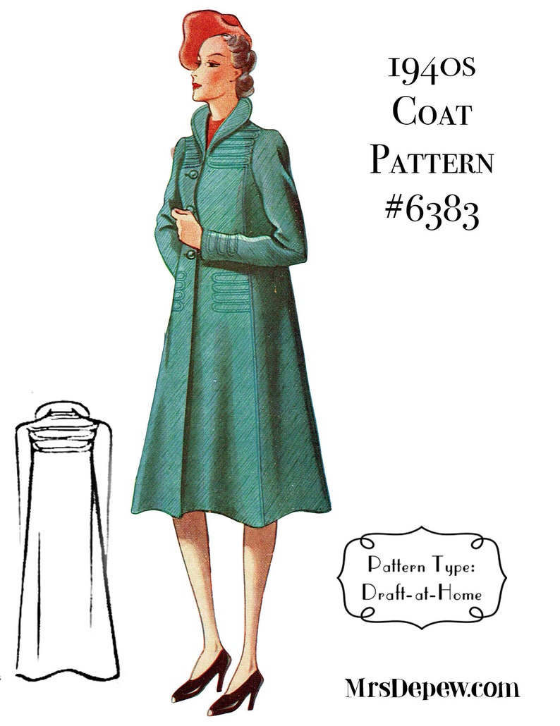 1940s Sewing Patterns – Dresses, Overalls, Lingerie etc 1940s Ladies Box Coat Any Size Depew 6383 Draft at Home Pattern - PLUS Size Included -INSTANT DOWNLOAD- $7.50 AT vintagedancer.com