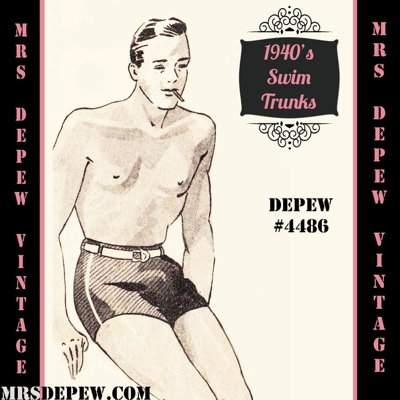 Vintage Men's Swimsuits – 1930s, 1940s, 1950s History Menswear Vintage Sewing Pattern 1940s Mens James Bond Swim Trunks in Any Size Depew 4486 - Plus Size Included -INSTANT DOWNLOAD- $7.50 AT vintagedancer.com