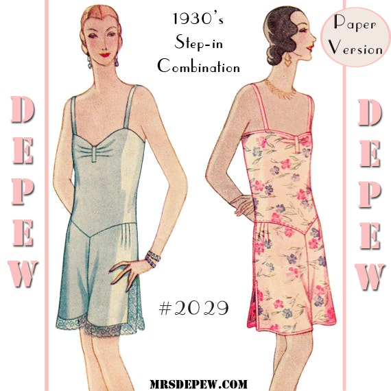 1920s Style Underwear, Lingerie, Nightgowns, Pajamas 1920s Step-in Combination Teddy #2029 - PAPER VERSION $17.50 AT vintagedancer.com