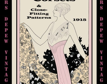 Vintage Sewing Book 1910's Corsets and Close-Fitting Patterns Ebook How To -INSTANT DOWNLOAD-