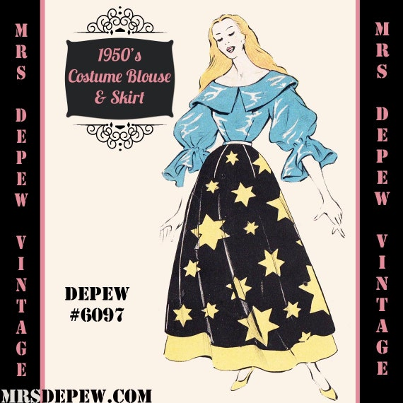 Vintage Sewing Pattern 1950s Costume Blouse And Skirt In Etsy