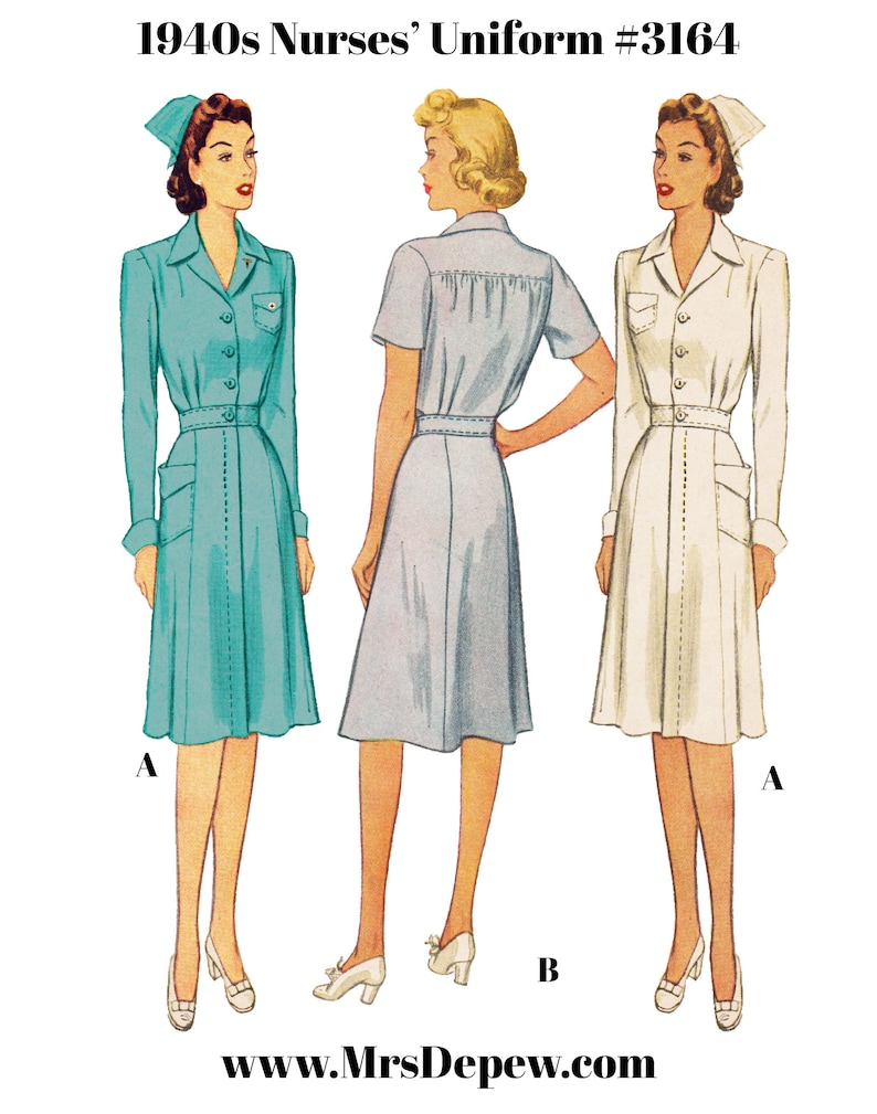 1940s Sewing Patterns – Dresses, Overalls, Lingerie etc 1943 Vintage Sewing Pattern 1940s Nurses Uniform Shirtwaist Dress & Cap #3164 -INSTANT DOWNLOAD PDF $11.50 AT vintagedancer.com