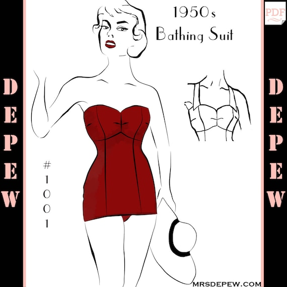 Vintage Sewing Pattern 1950s One Piece Bathing Suit Depew 1001 | Etsy