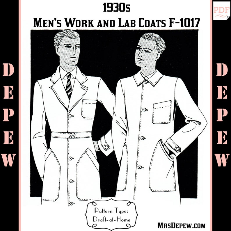 1930s Sewing Patterns- Dresses, Pants, Tops Menswear Vintage Sewing Pattern 1930s Mens Work or Lab Coat in Any Size Depew F-1017 - Plus Size -INSTANT DOWNLOAD- $8.50 AT vintagedancer.com