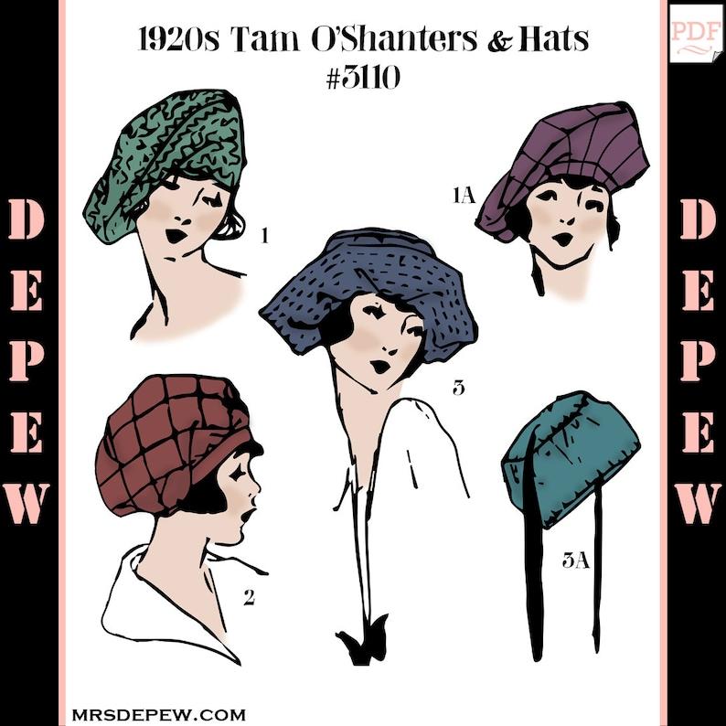 1920s Patterns – Vintage, Reproduction Sewing Patterns Vintage Sewing Pattern 1910s - 1920s Ladies' Tam-O'Shanter & Hats #3110 -INSTANT DOWNLOAD PDF $7.50 AT vintagedancer.com