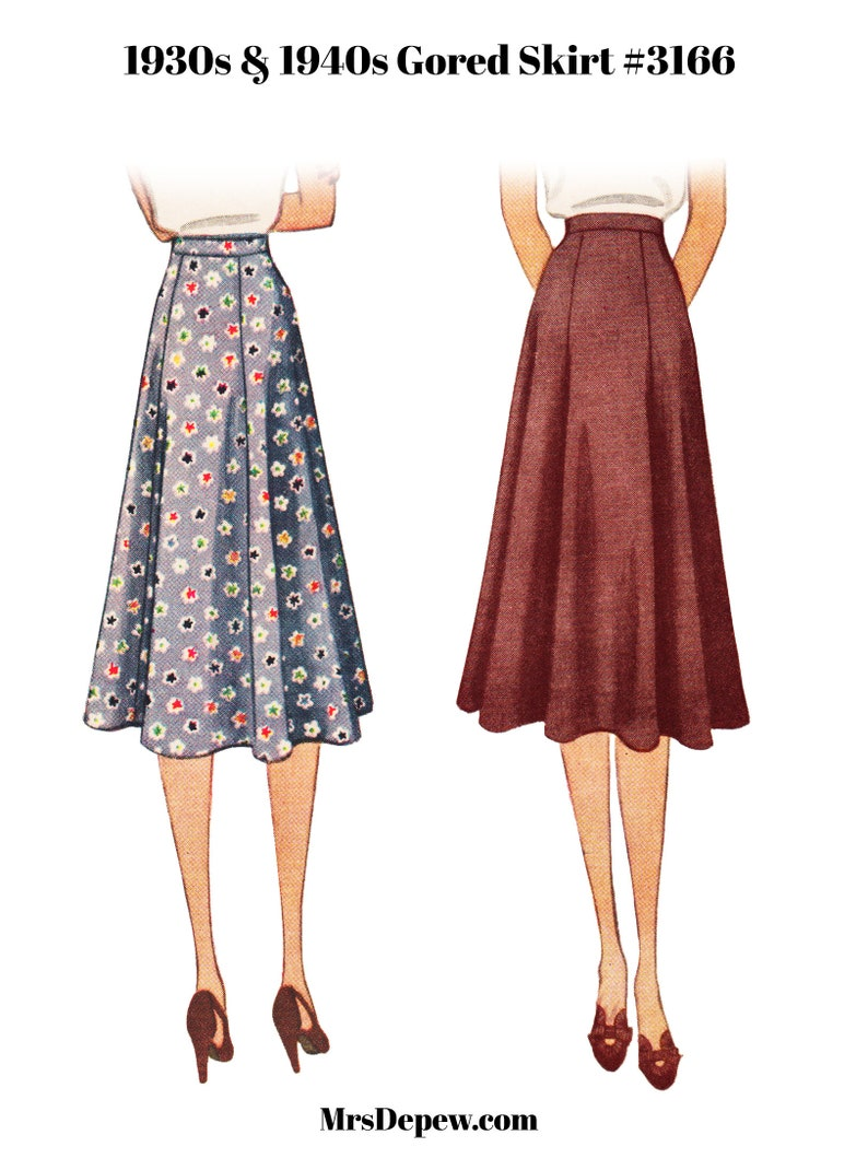 "Vintage Skirts | Retro, Pencil, Swing, Boho Vintage Sewing Pattern Ladies 1930s 1940s Easy to Sew Skirt 24-38"" Waist #3166- Instant Download PDF $9.50 AT vintagedancer.com"