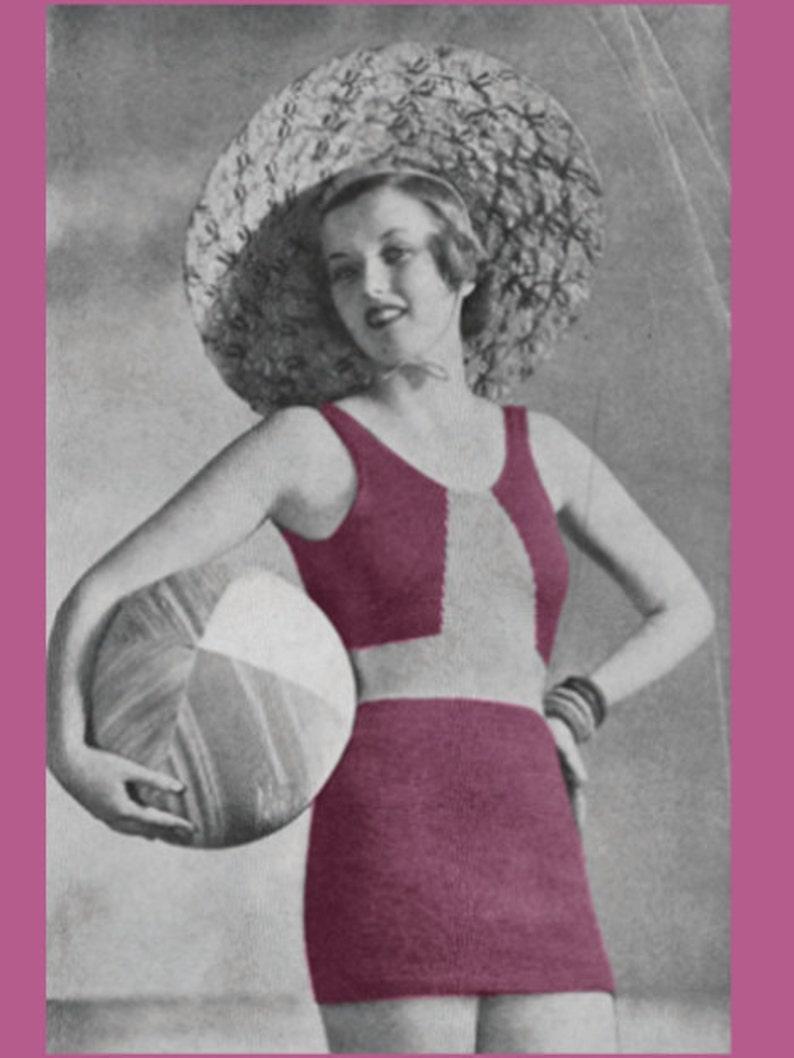 Vintage Bathing Suits | Retro Swimwear | Vintage Swimsuits Vintage Knitting Pattern 1930s Bathing Suit PDF Digital Copy Size 16 -INSTANT DOWNLOAD- $4.00 AT vintagedancer.com