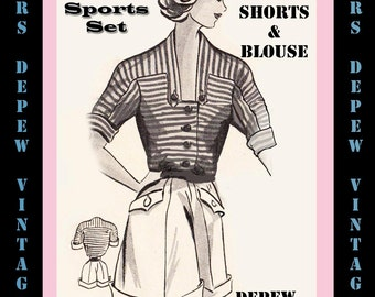 Vintage Sewing Pattern 1950's Shorts and Blouse in Any Size - PLUS Size Included - Depew 5585 -INSTANT DOWNLOAD-