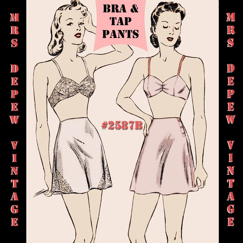 e8f614ae1172d Vintage Sewing Pattern Bra and Tap Pants Print at Home 1940s | Etsy