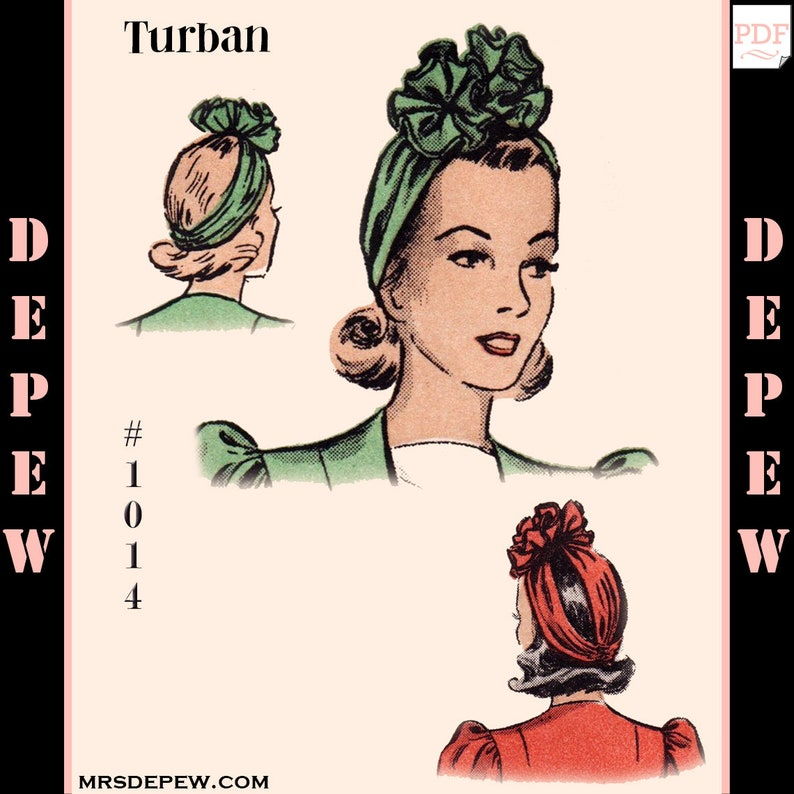 Vintage Sewing Pattern 1940s Turban Rosette Hat One Size 1014  9481231664e