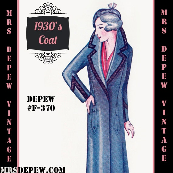 1920s Patterns – Vintage, Reproduction Sewing Patterns 1920s 1930s Coat in Any Size $8.50 AT vintagedancer.com
