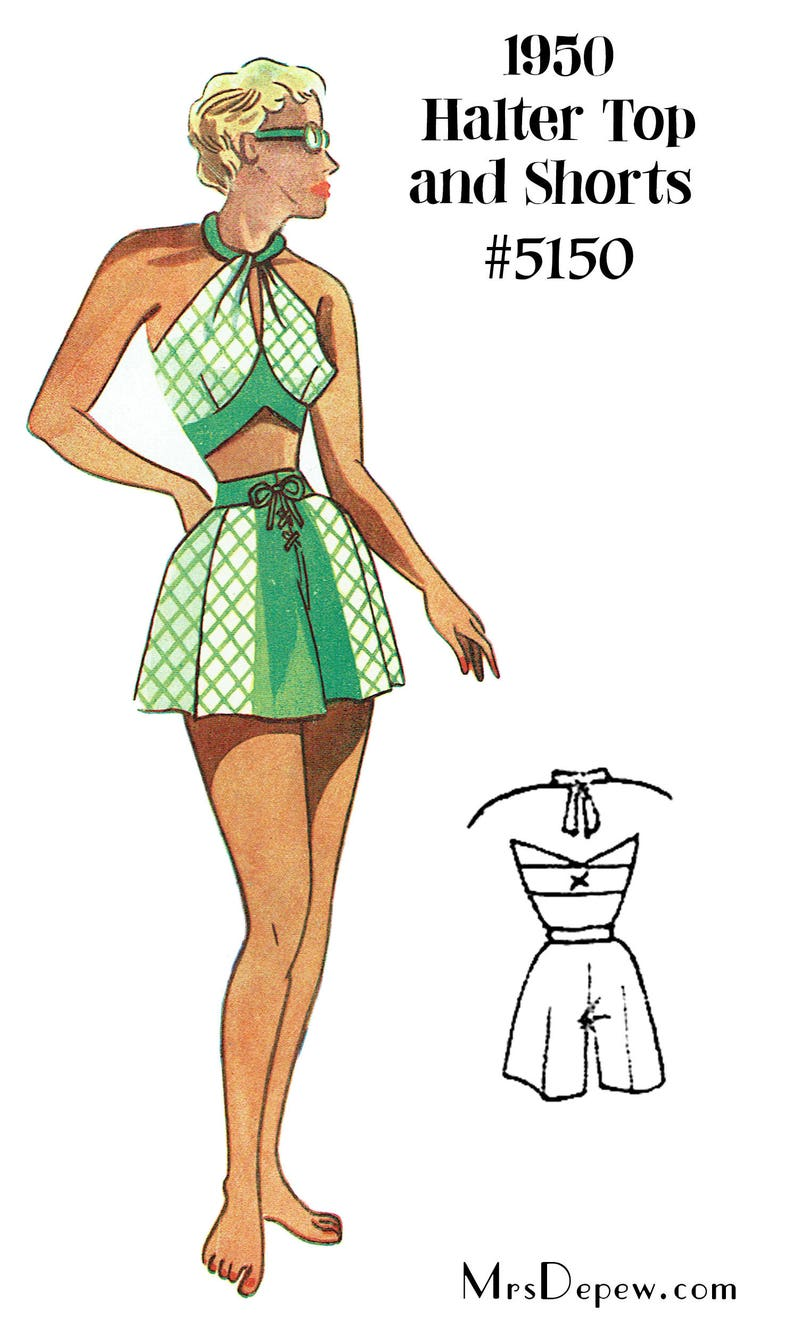 1950s Sewing Patterns | Dresses, Skirts, Tops, Mens Vintage Sewing Pattern 1950s Halter Bra Top & Shorts Depew 5150 in Any Size - PLUS Size Included -INSTANT DOWNLOAD- $7.50 AT vintagedancer.com