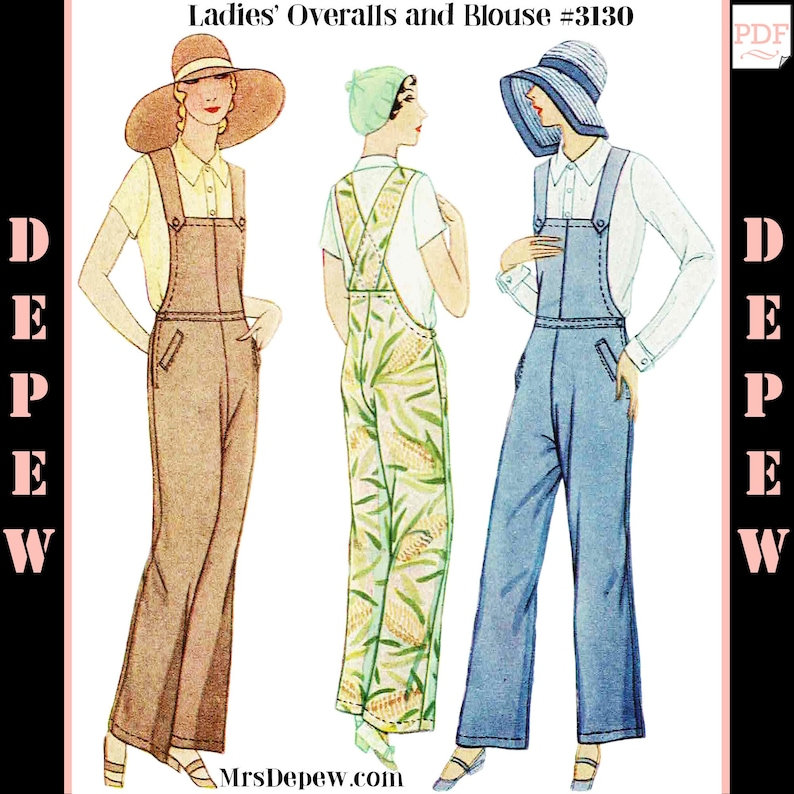 1920s Skirts, Gatsby Skirts, Vintage Pleated Skirts 1920s - 1930s Overalls and Blouse Set #3130 - INSTANT DOWNLOAD $9.50 AT vintagedancer.com