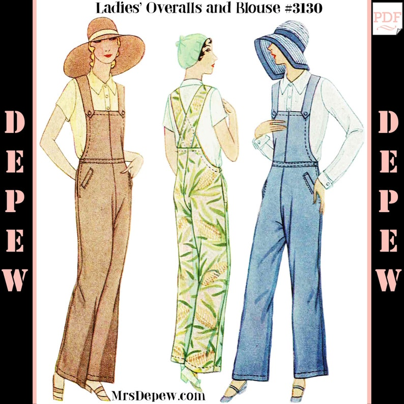 Vintage High Waisted Trousers, Sailor Pants, Jeans 1920s - 1930s Overalls and Blouse Set #3130 - INSTANT DOWNLOAD $9.50 AT vintagedancer.com