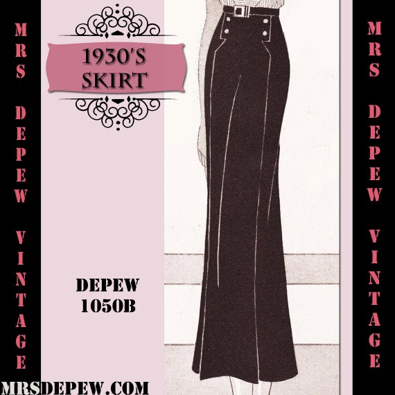 1930s Sewing Patterns- Dresses, Pants, Tops 1930s Skirt in Any Size Depew 1050b Draft at Home Pattern - PLUS Size Included -INSTANT DOWNLOAD- $7.50 AT vintagedancer.com