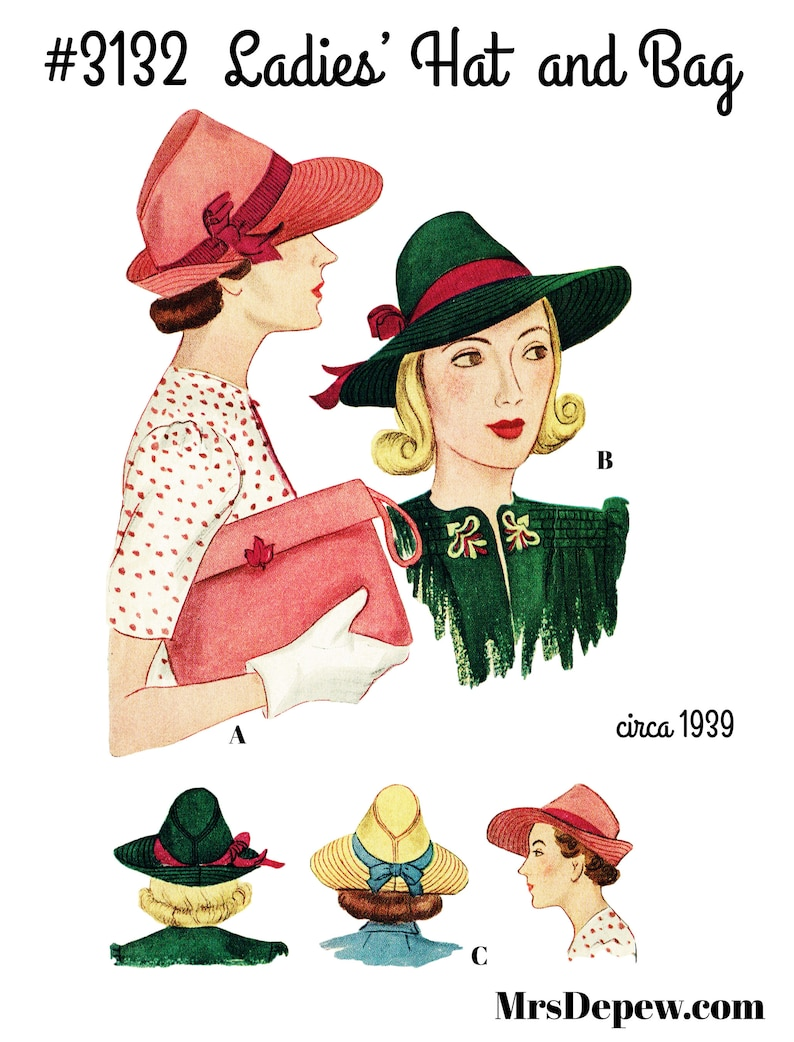 Vintage Hats | Old Fashioned Hats | Retro Hats Vintage Sewing Pattern Ladies 1930s Hat & Bag #3132 -INSTANT DOWNLOAD PDF- $8.50 AT vintagedancer.com