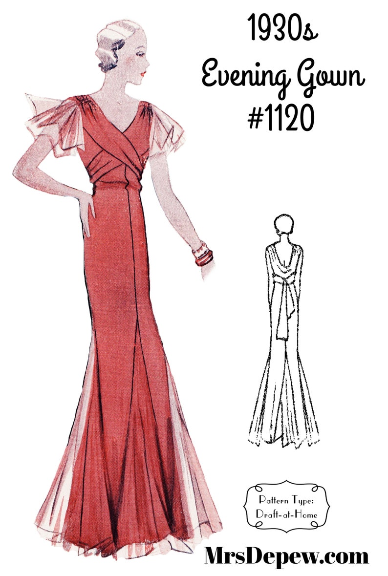 1930s Sewing Patterns- Dresses, Pants, Tops Vintage Sewing Pattern 1930s Evening or Wedding Gown in Any Size #1120 - PLUS Size Included -INSTANT DOWNLOAD- $9.50 AT vintagedancer.com