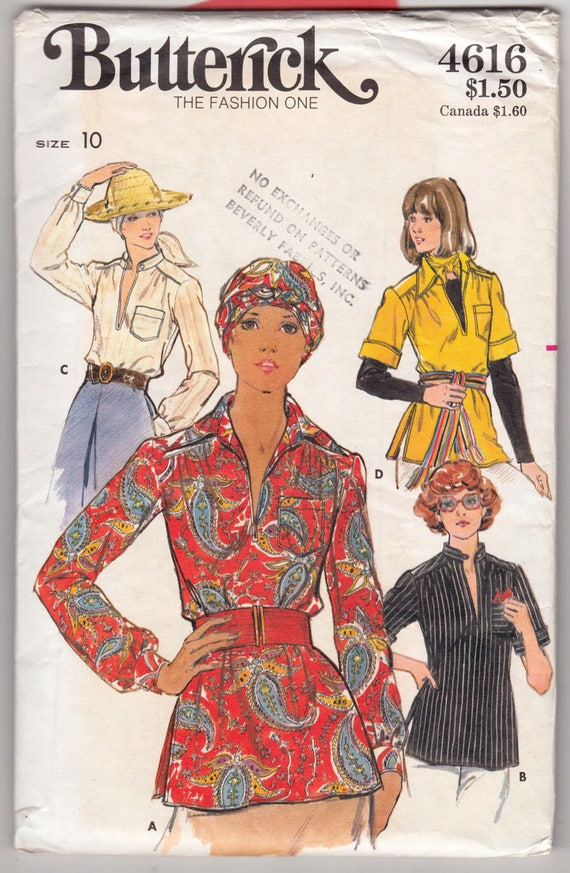 Vintage Sewing Pattern 1970s Blouse Butterick 4616 32 Etsy