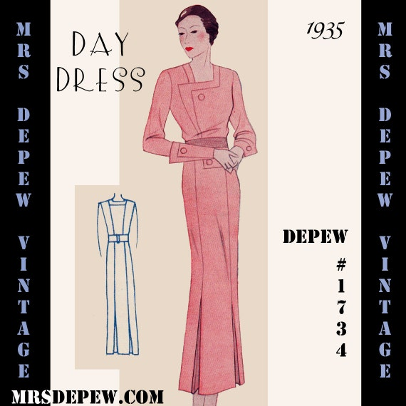1930s Sewing Patterns- Dresses, Pants, Tops 1930s Day Dress in Any Size- PLUS Size Included- Depew 1734 - A Draft at Home Pattern -INSTANT DOWNLOAD $8.50 AT vintagedancer.com