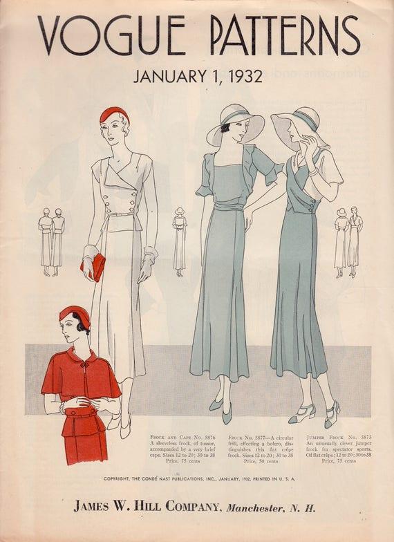 Catálogo Vintage patrón folleto patrones de Vogue de enero de | Etsy