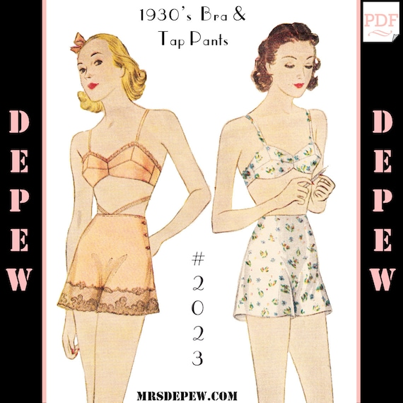 Retro Lingerie, Vintage Lingerie, 1940s-1970s 1930s Bra and Tap Pants #2023 - INSTANT DOWNLOAD $9.50 AT vintagedancer.com