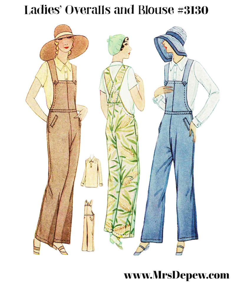 1930s Outfit Inspiration – Women's Clothing Ideas Vintage Sewing Pattern Ladies 1920s - 1930s Overalls and Blouse Set #3130 - INSTANT DOWNLOAD $9.50 AT vintagedancer.com