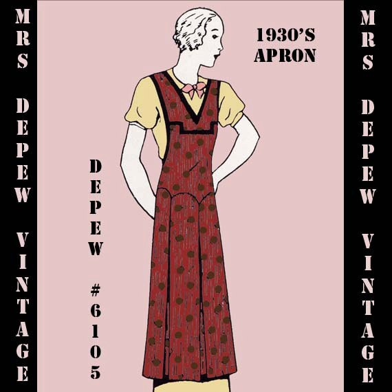 1930s Sewing Patterns- Dresses, Pants, Tops 1930s Ladies Apron in Any Size- PLUS Size Included- Depew 6105 -INSTANT DOWNLOAD- $7.50 AT vintagedancer.com
