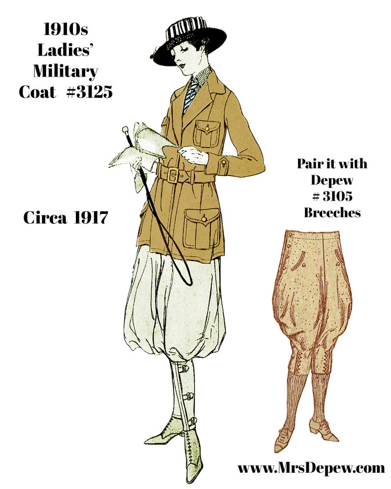 Edwardian Sewing Patterns- Dresses, Skirts, Blouses, Costumes 1910s Vintage Sewing Pattern 1917 Ladies Military Coat Pattern 38