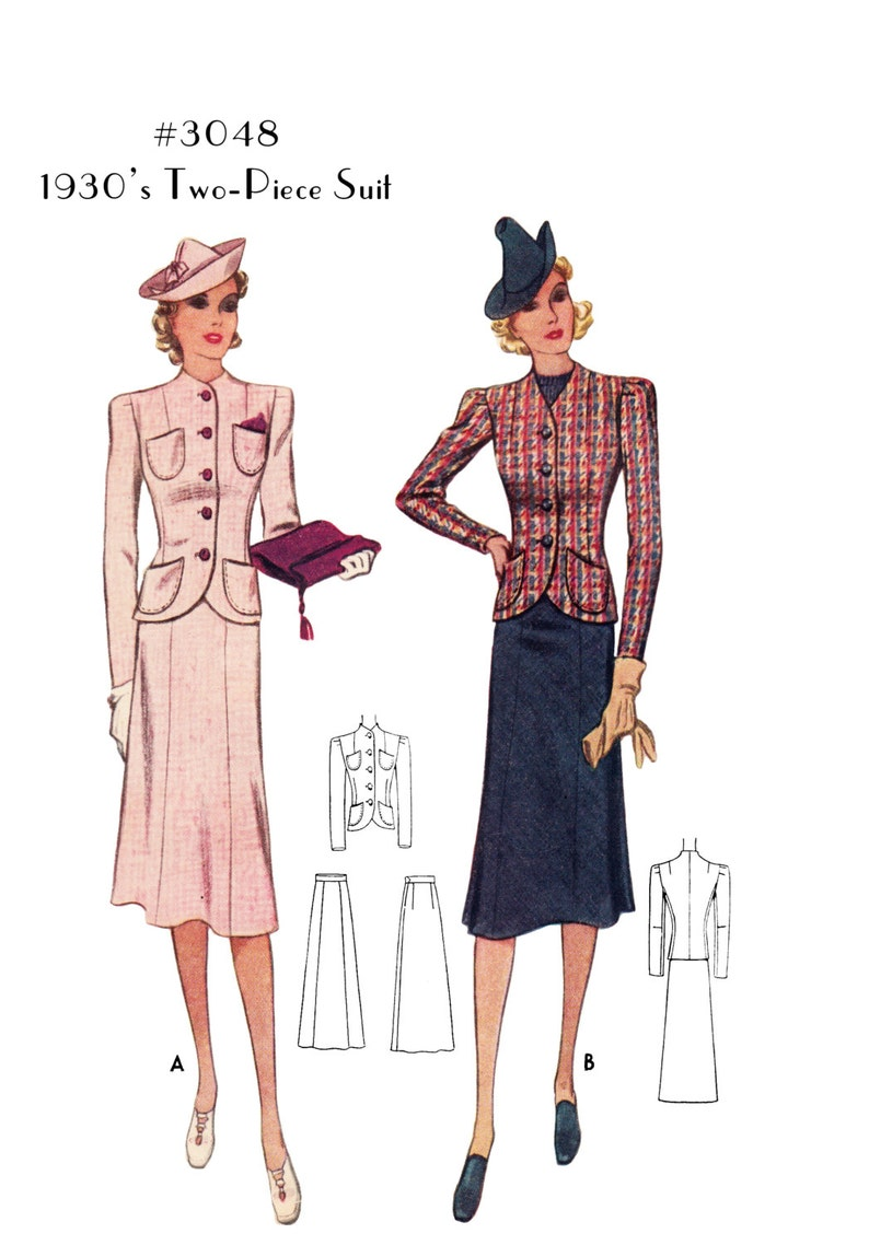 1930s Sewing Patterns- Dresses, Pants, Tops  1930s Two-Piece Suit Skirt and Jacket #3048 -INSTANT DOWNLOAD PDF $8.50 AT vintagedancer.com