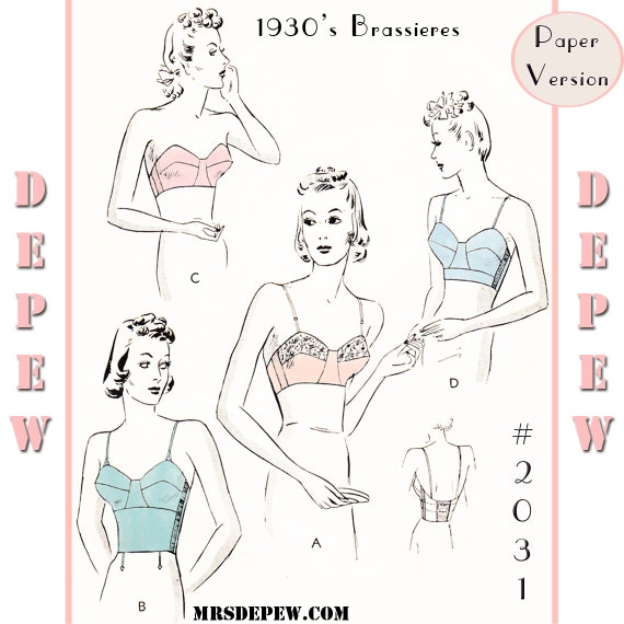 Retro Lingerie, Vintage Lingerie, 1940s-1970s  1930s Long Line & Strapless Bra #2031 - PAPER VERSION $15.00 AT vintagedancer.com