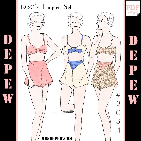 Retro Lingerie, Vintage Lingerie, 1940s-1970s 1930s Bra and Panties #2034 - INSTANT DOWNLOAD $9.50 AT vintagedancer.com