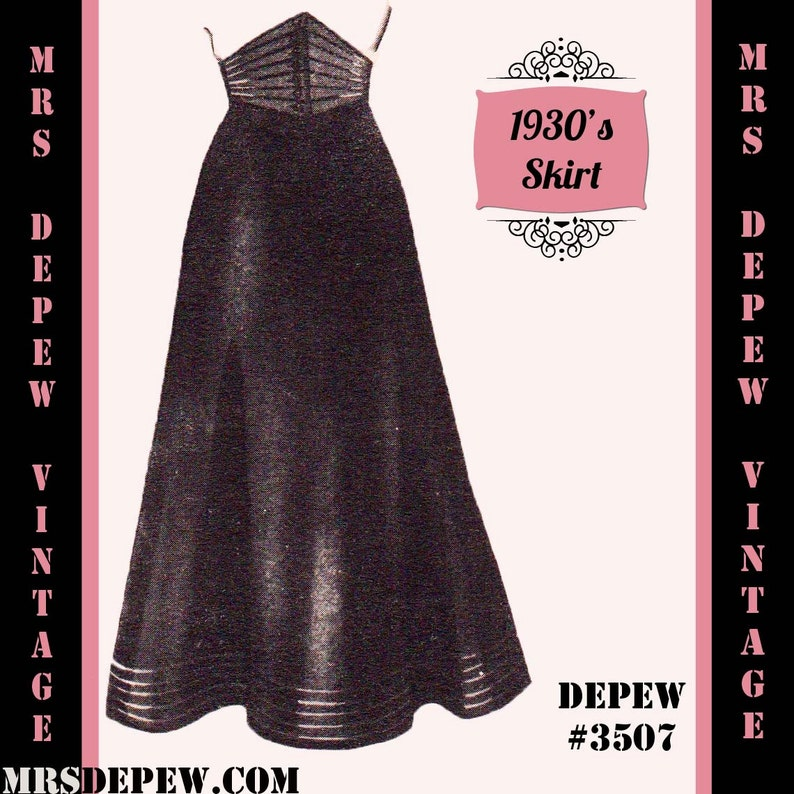 1930s Style Skirts : Midi Skirts, Tea Length, Pleated Vintage Sewing Pattern 1930s 1940s A-line Skirt in Any Size Depew 3507 - Plus Size Included -INSTANT DOWNLOAD- $7.50 AT vintagedancer.com