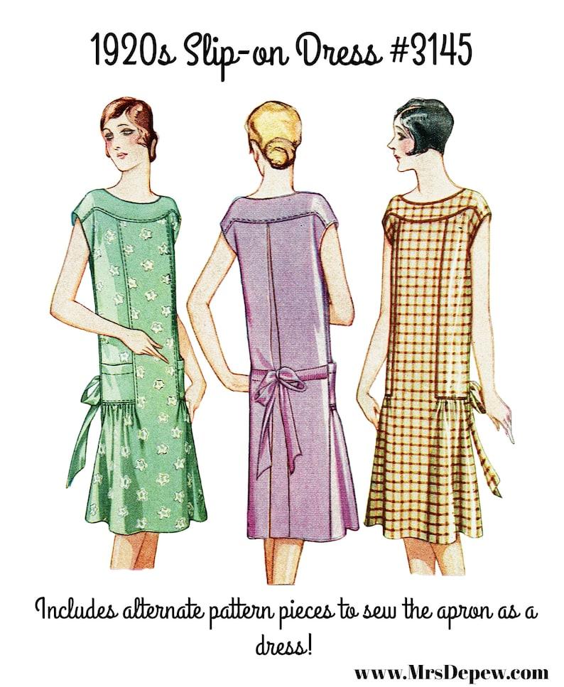 1920s Patterns – Vintage, Reproduction Sewing Patterns Vintage Sewing Pattern 1920s Ladies Slip On Apron and House Dress #3145 - INSTANT DOWNLOAD $8.50 AT vintagedancer.com