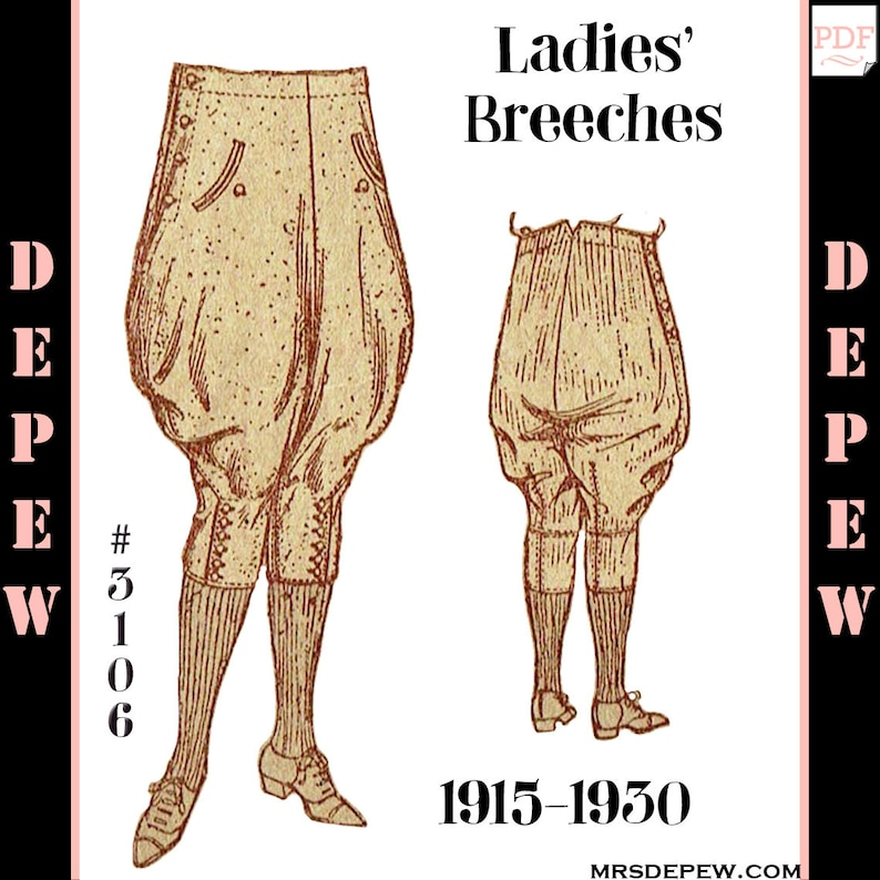 1950s Sewing Patterns | Dresses, Skirts, Tops, Mens Vintage Sewing Pattern 1920s Ladies Jodhpurs or Riding Breeches #3106 - INSTANT DOWNLOAD $7.65 AT vintagedancer.com