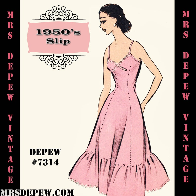 Vintage Lingerie | New Underwear, Bras, Slips 1950s Full Slip in Any Size- PLUS Size Included- Depew 7314 -INSTANT DOWNLOAD- $7.50 AT vintagedancer.com