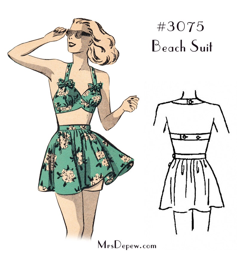 1940s Style Swimsuits, Bikini, Swimwear Vintage Sewing Pattern Ladies 1940s Beach Bra and Skirt Bathing Suit #3075 - INSTANT DOWNLOAD $7.50 AT vintagedancer.com