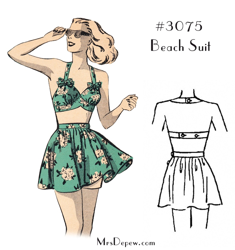1940s Bathing Suits History Vintage Sewing Pattern Ladies 1940s Beach Bra and Skirt Bathing Suit #3075 - INSTANT DOWNLOAD $7.50 AT vintagedancer.com