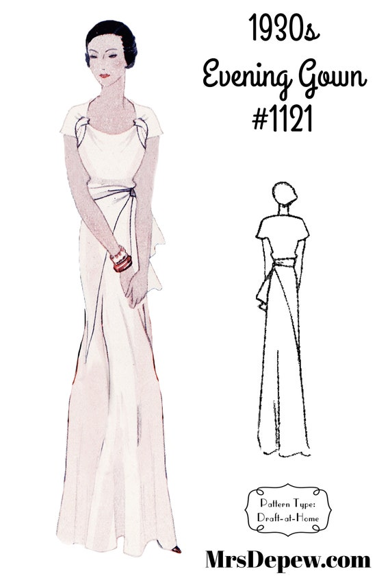 1930s Fashion Colors & Fabric 1930s Evening Gown in Any Size #1121- PLUS Size Included -INSTANT DOWNLOAD- $9.50 AT vintagedancer.com