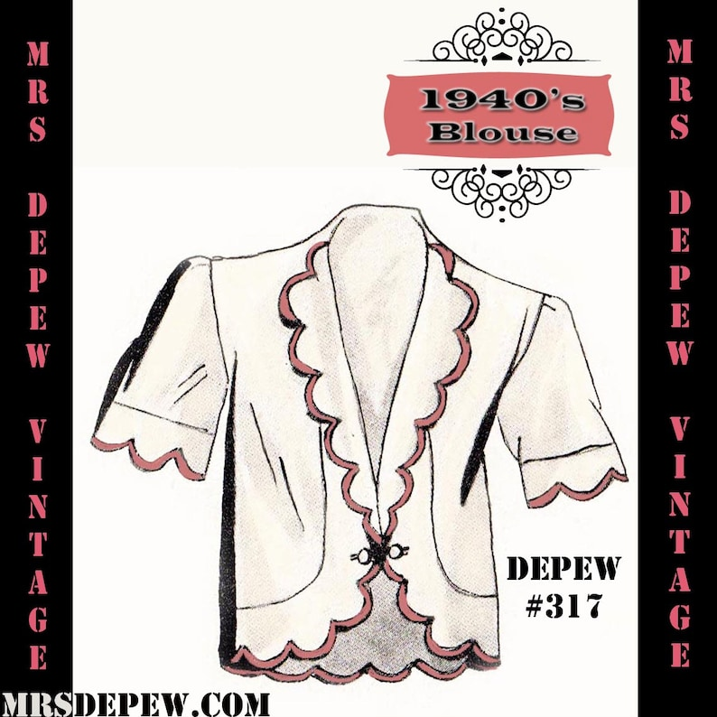 1940s Sewing Patterns – Dresses, Overalls, Lingerie etc Vintage Sewing Pattern 1940s French Blouse or Jacket in Any Size- PLUS Size Included- Depew 317 -INSTANT DOWNLOAD- $5.00 AT vintagedancer.com
