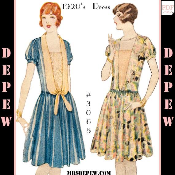 Vintage Sewing Pattern Ladies 1920s Dress 3065 Instant Etsy