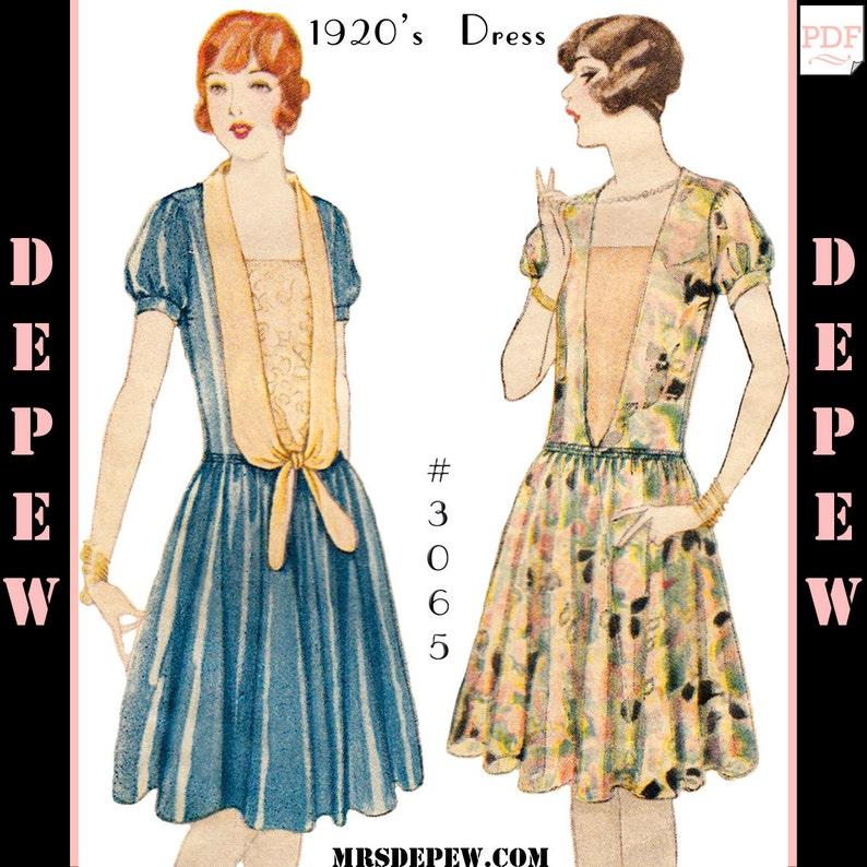 1920s Patterns – Vintage, Reproduction Sewing Patterns Vintage Sewing Pattern Ladies 1920s Short Sleeve Dress #3065 - INSTANT DOWNLOAD $8.50 AT vintagedancer.com